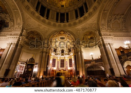 Berlin, Germany, August 27 2016: People visit the Berliner Dome during the annual Museum Night in summer