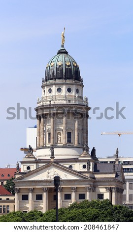 BERLIN, GERMANY, CIRCA 2013 - Bell tower of the big church stays on the one of central squares circa 2013 in Berlin, Germany