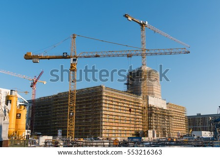 Berlin, Germany -January 10, 2017: The reconstruction of the Berlin City Palace (Stadtschloss /  Humboldt Forum) in Berlin.