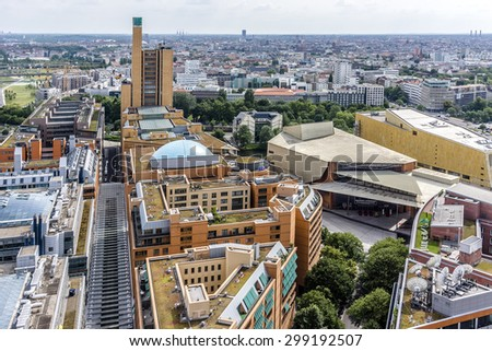 BERLIN, GERMANY - JUNE 16, 2014: Berlin Skyline City Panorama with blue sky.