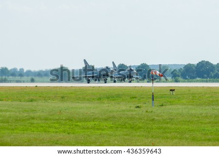 BERLIN, GERMANY - JUNE 03, 2016: Preparing for takeoff multirole fighter Eurofighter Typhoon. Exhibition ILA Berlin Air Show 2016