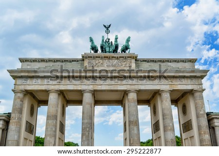 Berlin, Germany, May 25, 2015: Brandenburg Gate. The most famous symbol of Berlin and Germany. After 1989, it became the embodiment of the country's reunification.
