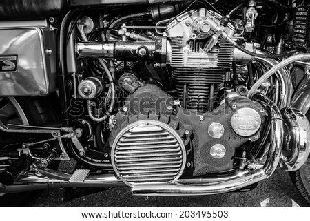 BERLIN, GERMANY - MAY 17, 2014: Engine of the motorcycle Munch Mammoth 1200 TTS. Black and white. 27th Oldtimer Day Berlin - Brandenburg