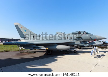 BERLIN, GERMANY - MAY 22: German Air Force Eurofighter at the International Aerospace Exhibition ILA on May 22nd, 2014 in Berlin, Germany.