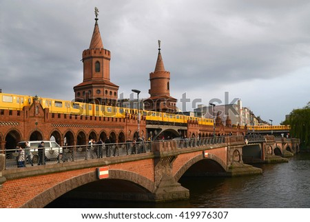 BERLIN, GERMANY - MAY 1, 2014: Panoramic view of Berliner U-Bahn with Bridge Oberbaumbruecke.
