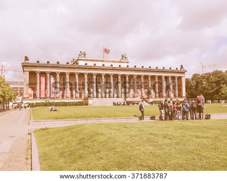 BERLIN, GERMANY - MAY 10, 2014: Tourists visiting the Altes Museum of Antiquities in Museumsinsel Berlin Germany vintage