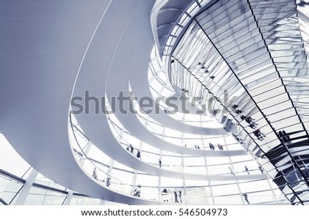Berlin, Germany - November 9: View of Reichstag dome on November 9, 2009 in Berlin. The Reichstag dome is a glass dome constructed on top of the rebuilt Reichstag building