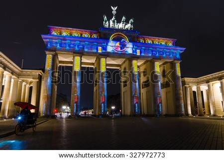 BERLIN, GERMANY - OCTOBER 13, 2015: Brandenburg Gate in night illumination. The annual Festival of Lights 2015
