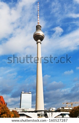 BERLIN, GERMANY - OCTOBER 17: view of Fernsehturm TV Tower in Berlin, Germany on October17, 2013. The tower was built by architects Fritz Dieter, Gunter Franke and Werner Ahrendt between 1965-69