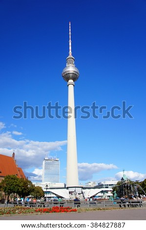 Berlin, Germany - September 27, 2015: St. Mary's Church (Marienkirche) and the TV tower