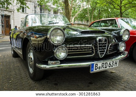 BERLIN - JUNE 14, 2015: Luxury car Alfa Romeo 2600 Spider (Tipo 106), 1963. Body by Carrozzeria Touring. The Classic Days on Kurfuerstendamm.