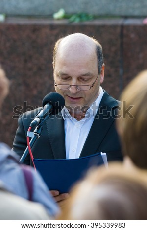 "BERLIN - MAY 08, 2015: Victory in Europe Day. Treptower Park. Speech by Chairman of the ""Union of anti-fascists"" Dr. Axel Holz."
