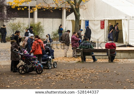 BERLIN - OCTOBER 30, 2015: Centre for the reception and registration of refugees - LaGeSo.