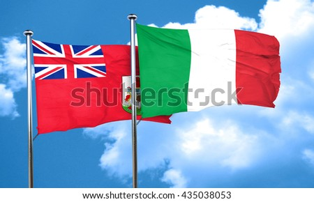bermuda flag with Italy flag, 3D rendering