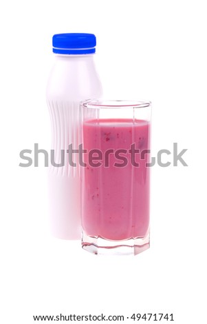 Berries smoothie in a glass isolated on white background