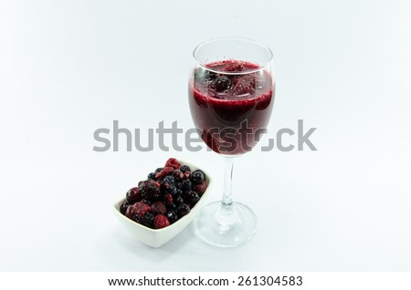 Berry smoothie and Berry sauce in cup