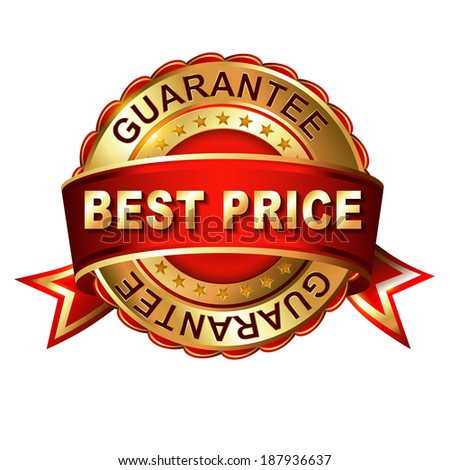 Best price guarantee golden label with ribbon.