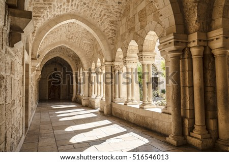 BETHLEHEM, PALESTINE - OCTOBER 27, 2016: The gallery of the Church of Nativity, Bethlehem