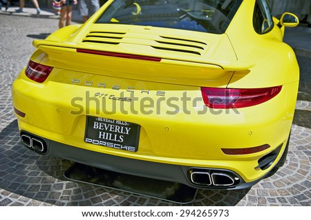 BEVERLY HILLS, CALIFORNIA - JUNE 21, 2015: 2015 Porsche 911 Turbo on display at the Rodeo Drive Concours D'Elegance on June 21, 2015 Beverly Hills, California, USA