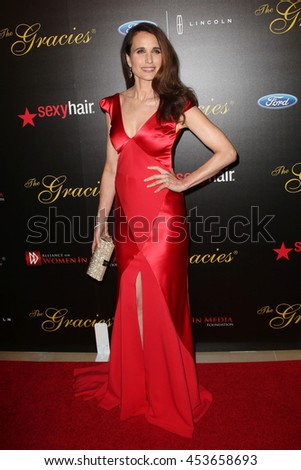 Beverly Hills, California, USA; May 20, 2014; Andie MacDowell arrives to the 39th Annual Gracie Awards in Beverly Hills, California.