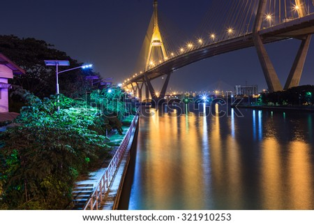 Bhumibol Bridge in Thailand, also known as the Industrial Ring R