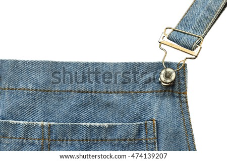 BIB jean for holded pants with shoulder on the white background.