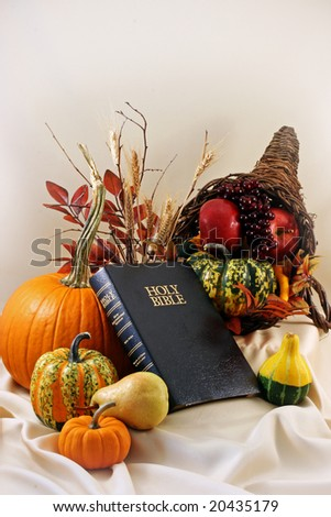 bible, pumpkins, gourds, cornucopia and room for copy
