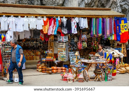 BICAZ GORGES, ROMANIA - JULY 07, 2015 : Tourists visit the Bicaz Canyon. Canyon is one of the most spectacular roads in Romania.