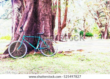 Vintage bicycle waiting near tree against stock photo for Bicycle painting near me