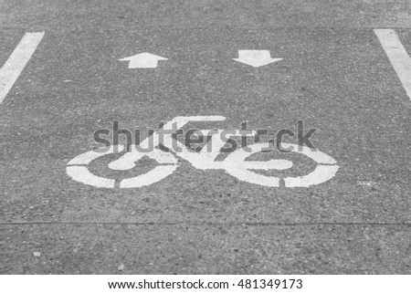 Bicycle sign or icon and movement of cyclist