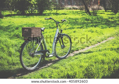 bicycle with a wicker basket