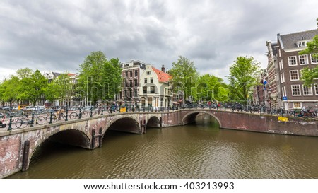 Bicycles lining a bridge over the canals of Amsterdam, Netherlands. Cycling is one of the best ways to get around the city.