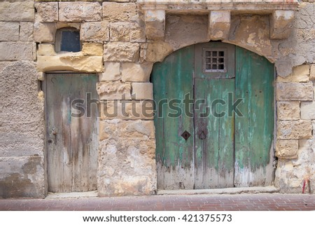 Big and small old gates Street of an old fisher village at the island Malta & Old Green Brown Wooden Vintage Doors Stock Photo 437368741 ... Pezcame.Com
