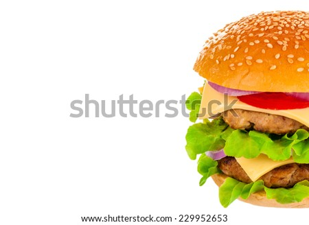 Big beautiful juicy burger with meat and vegetables. Isolated on white background