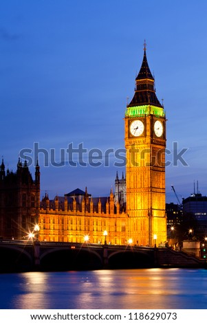 Big Ben and River Thames  International Landmark of London England United Kingdom at Dusk