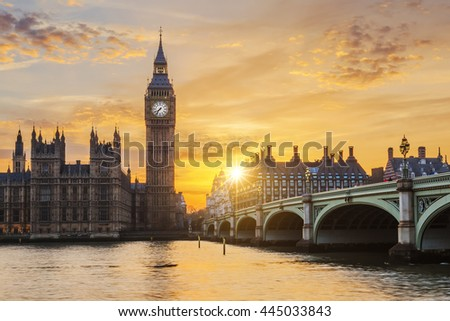 Big Ben and Westminster Bridge at sunset, London, UK