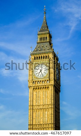 Big Ben Clock Tower Isolated Close Up With Blue Sky in London, United Kingdom
