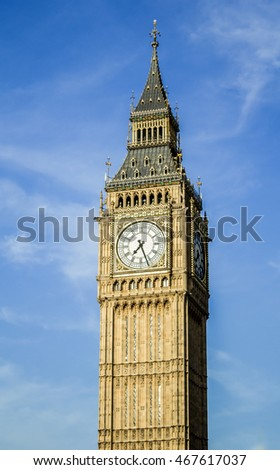 Big Ben Clock Tower Isolated With Blue Sky in London, United Kingdom