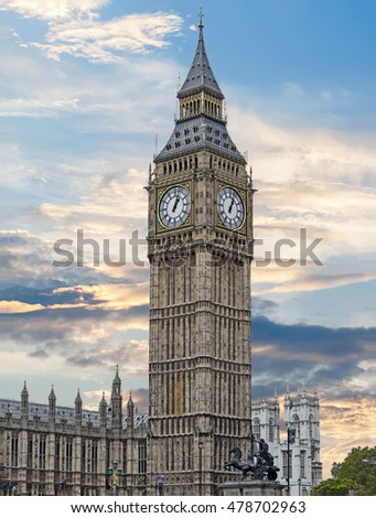 Big Ben Clock Tower with a dramatic blue cloudy sky