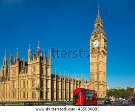 Big ben with a red bus in London