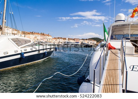 Big Boats in the harbour of Saint Tropez, Coted' Azur, France