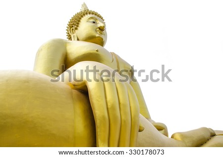 big buddha statue at wat muang in angthong province with white background, landscape thailand