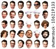 big collection of peoples faces over a white background - stock photo