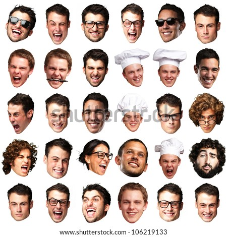 big collection of peoples faces over a white background
