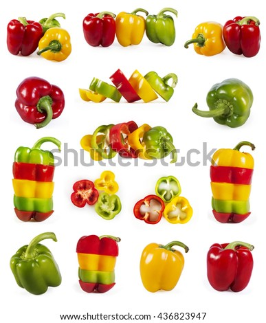 Big collection of red, green and yellow capsicum isolated on white background