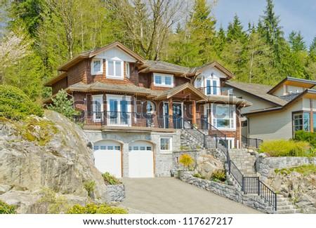 American Green Siding House Exterior Natural Stock Photo