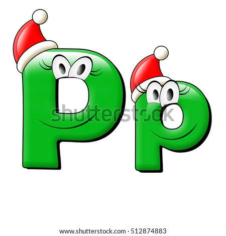Big eye and smile green alphabet. 3d illustration. Merry Christmas.