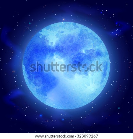 Big glowing moon with stars on dark cosmos background  illustration