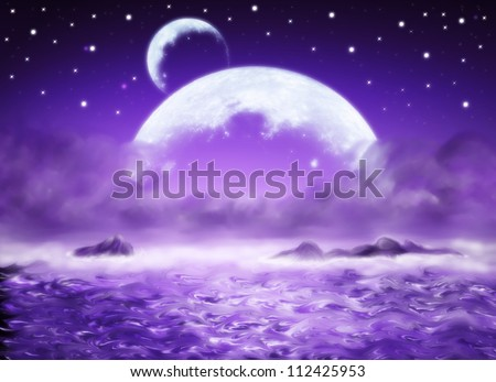 Big planet, purl water fantasy background, dreamland