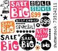 big sale crazy doodles - stock vector